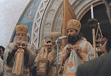 Архиеписcкоп Антоний (Медведев), архиепископ Виталий (Устинов) и епископ Лавр (Шкурла) на Владимирской горке (Нью-Джерси, США), 70-е годы.